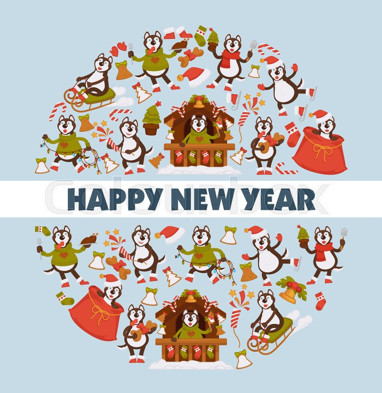 happy new year 2018 cartoon dog celebrating holidays greeting card design template vector dog funny character icons with xmas tree decoration and christmas