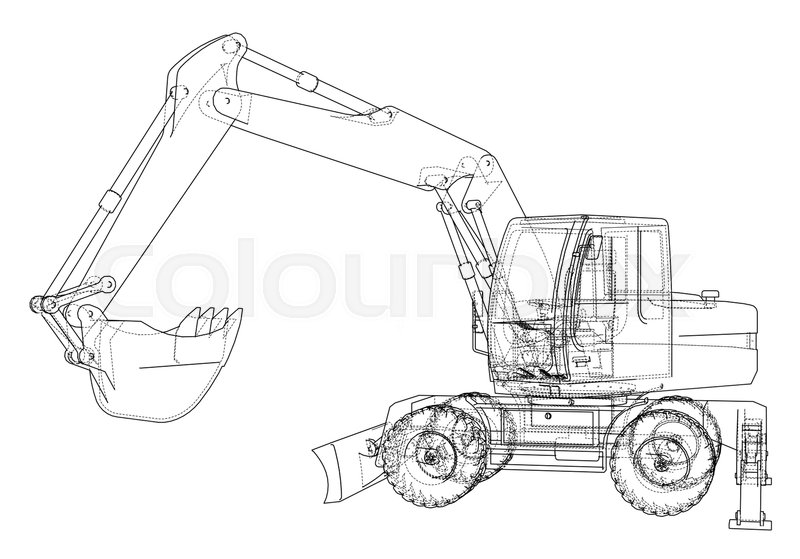 Outline Of Excavator Isolated On White Background Vector EPS10 Format Rendering 3d