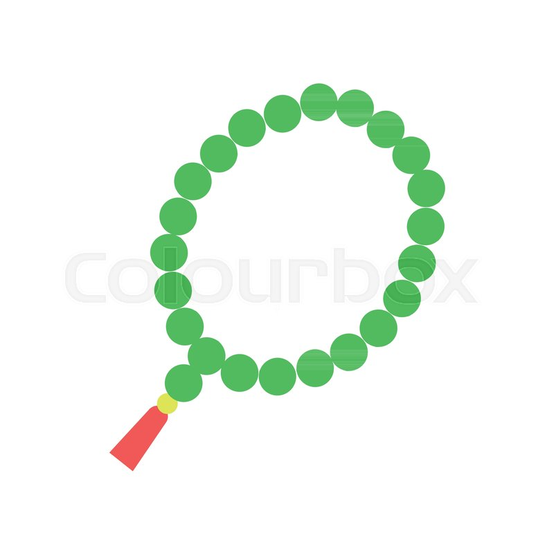 Colorful Muslim Rosary With Green Beads And Red Tassel Religious