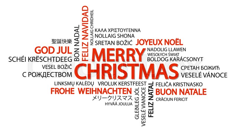 Merry Christmas In Different Languages.Word Cloud With Text Merry Christmas Stock Vector