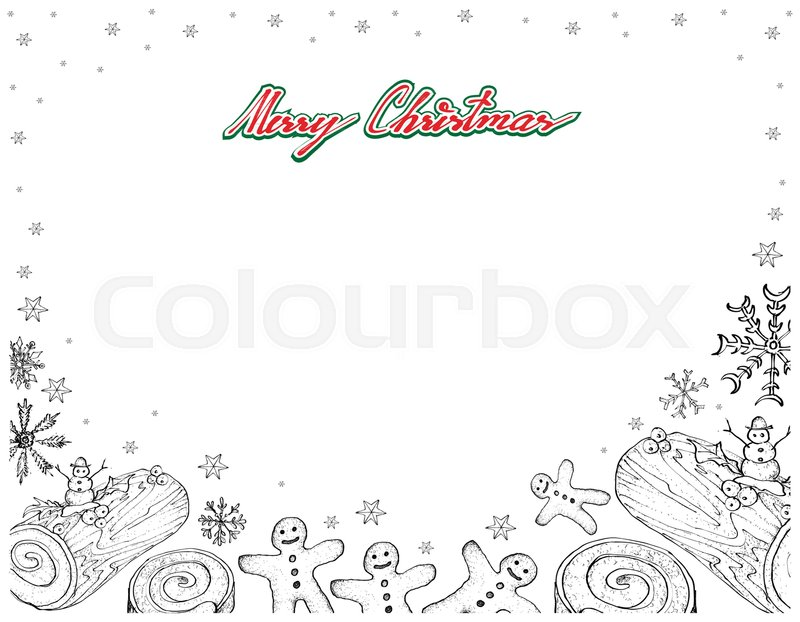 Illustration Frame of Hand Drawn Sketch of A Traditional Christmas ...