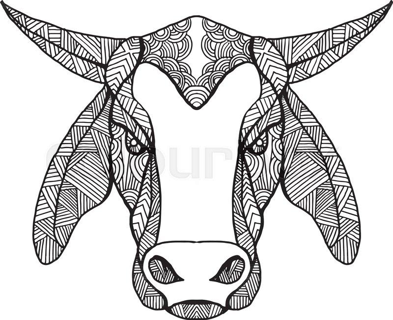 Mandala Style Illustration Of A Brahma Or Brahman Bull Head Viewed
