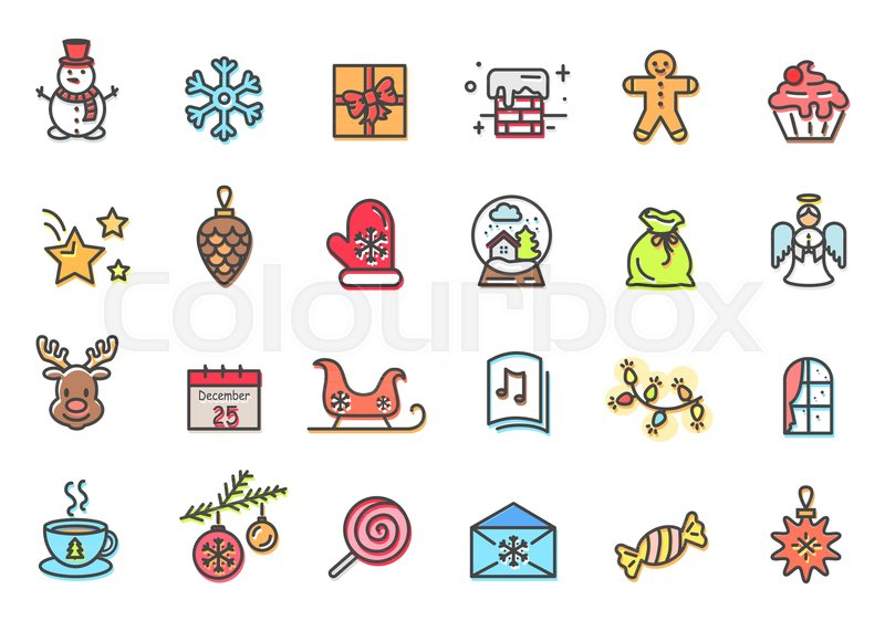 christmas items collection snowman and present sweets and cookie angel and reindeer cup of hot tea and window with curtains vector illustration stock