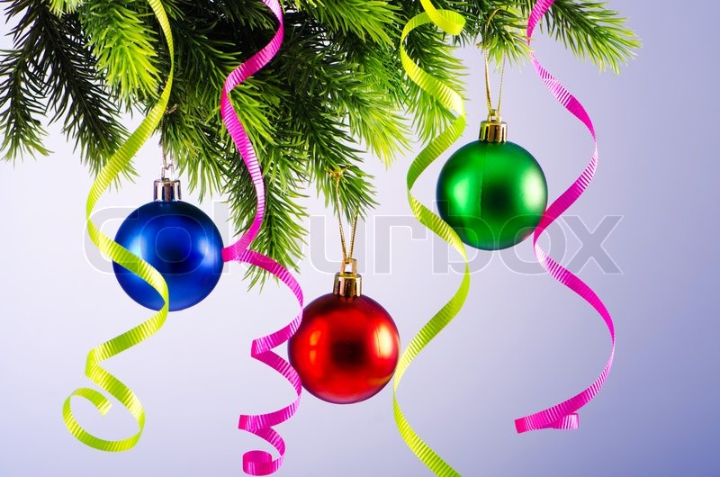 Baubles On Christmas Tree In Celebration Concept Stock