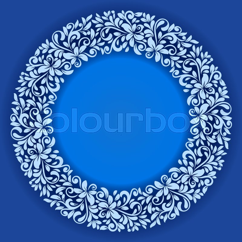 Abstract Winter Floral Frame Vector Template Blue And White Round - Christmas card template blue