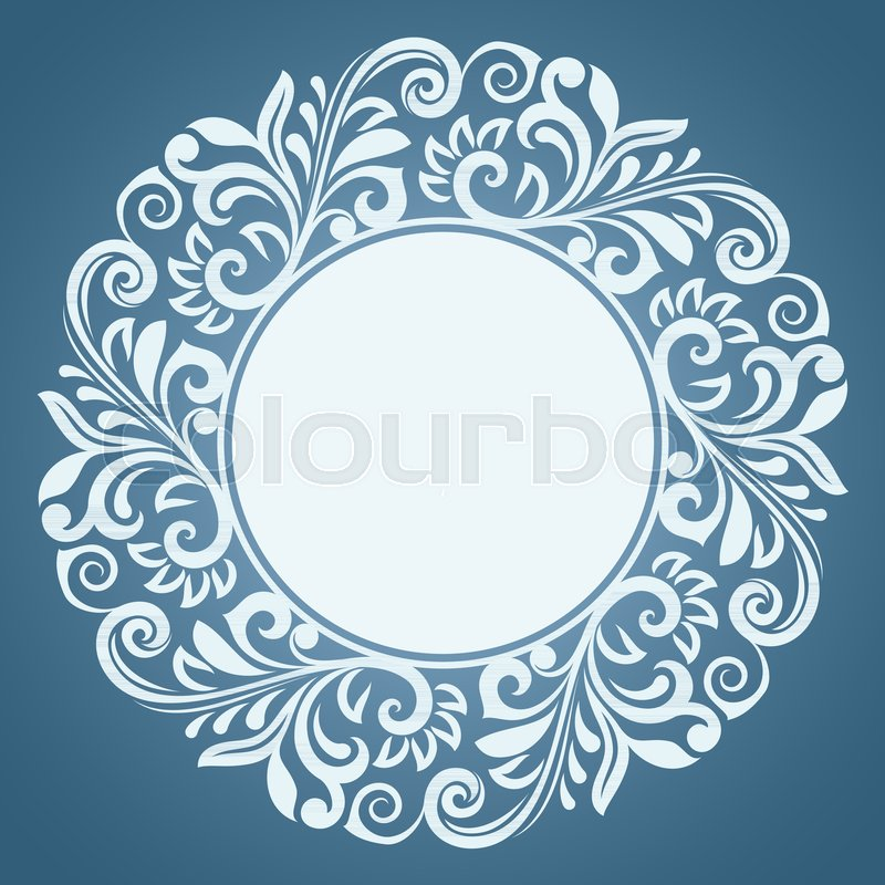 Abstract winter floral frame vector template. Blue and white round ...