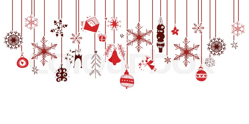 Various Hanging Christmas Ornaments Stock Vector Colourbox