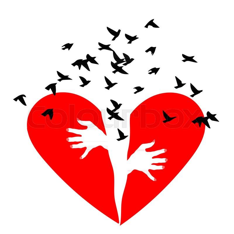 Red Heartbreak Birds Fly Out Of A Broken Heart Broken Heart Or