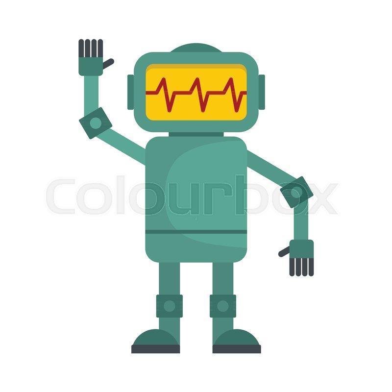 funny green robot vector illustration of cartoon robot for web rh colourbox com robot vector art robovector manual