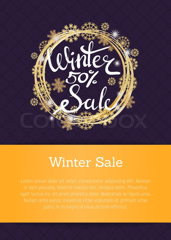 winter sale 50 poster in decorative frame made of silver and golden