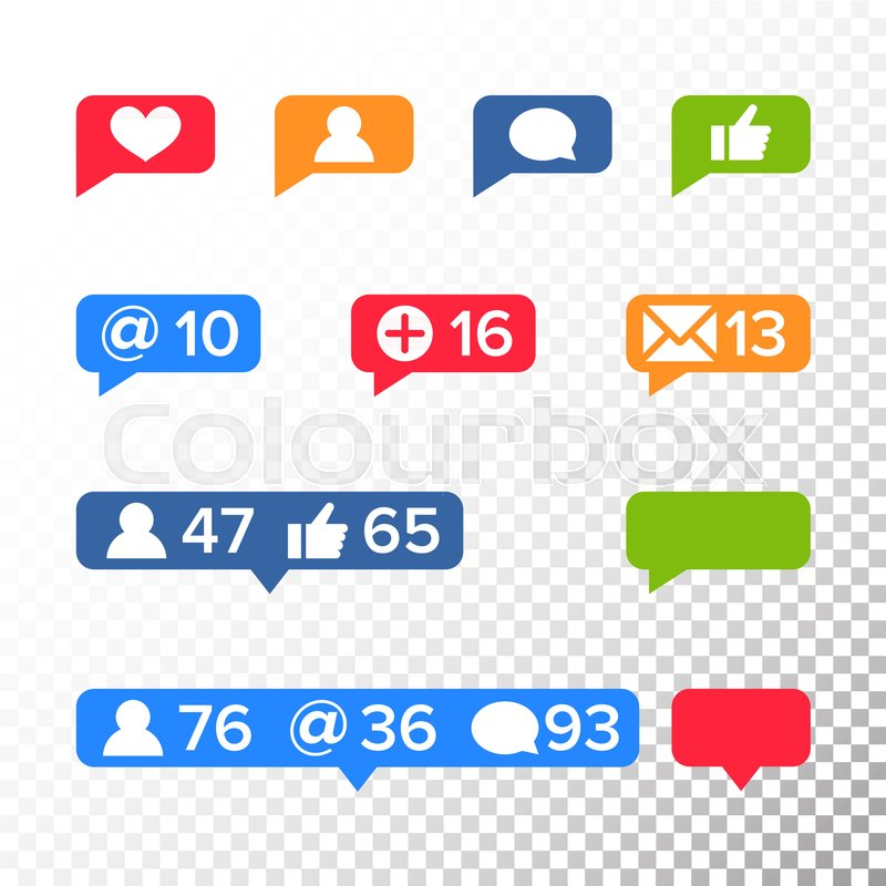 Notifications Icons Template Vector Like Symbol Message And