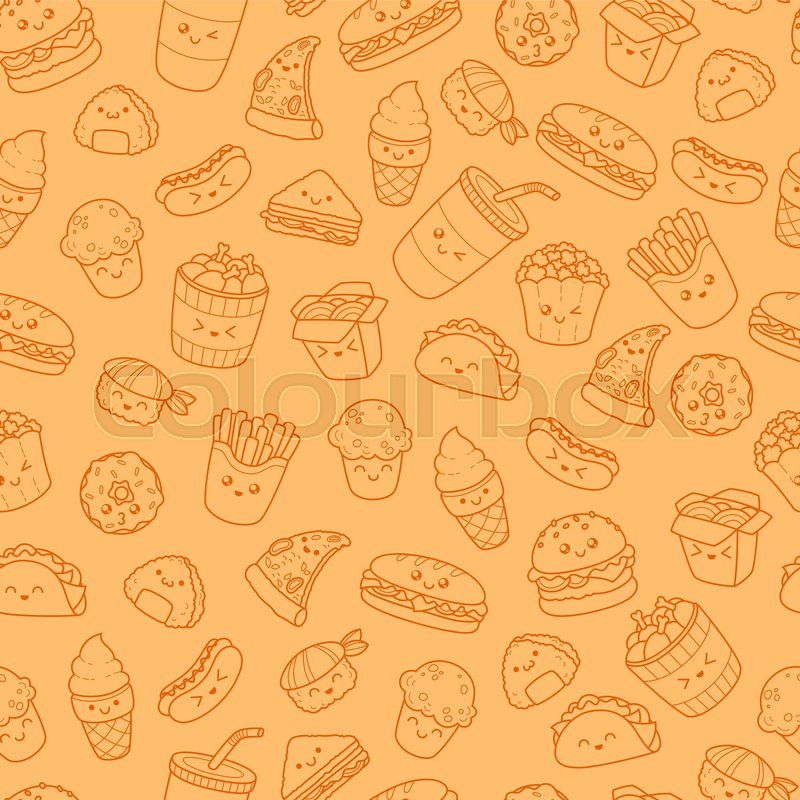set of vector cartoon doodle icons stock vector colourboxset of vector cartoon doodle icons junk food illustration of comic fast food seamless texture, pattern, wallpaper, background, vector