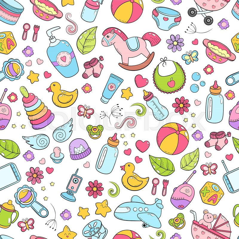 Seamless Background Texture Backdrop Pattern Wallpaper With Children Cartoon Doodle Toys Educational Games For Kids Illustration Baby Shower