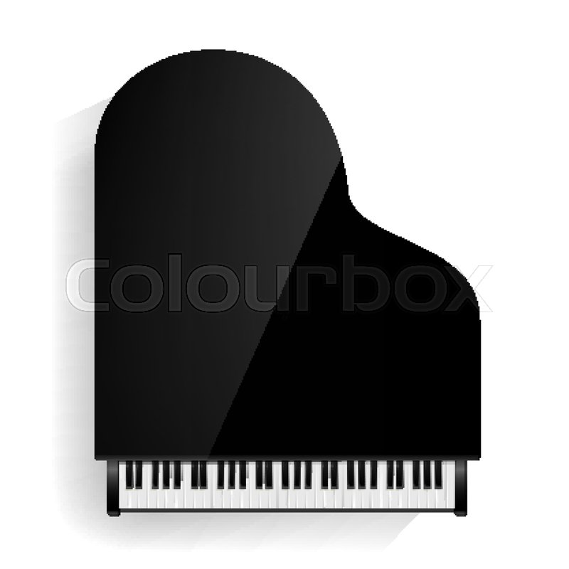 Grand Piano Vector Realistic Black Top View Isolated Illustration Musical Instrument