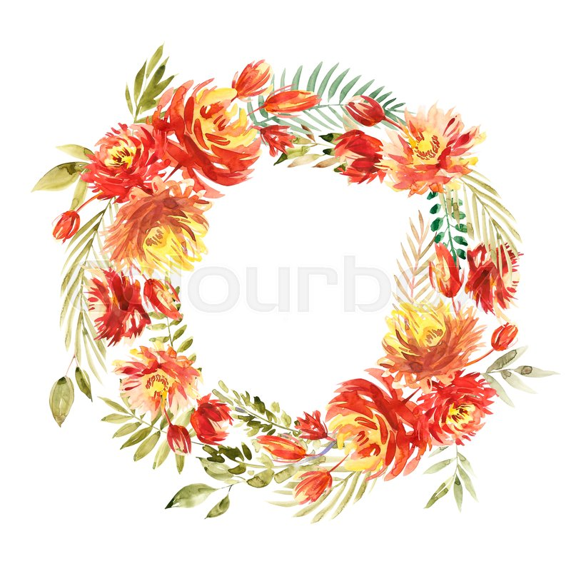 Stock image of 'Round Watercolor flower Wreath. Circular red Peony wreath. Isolated on white background.'