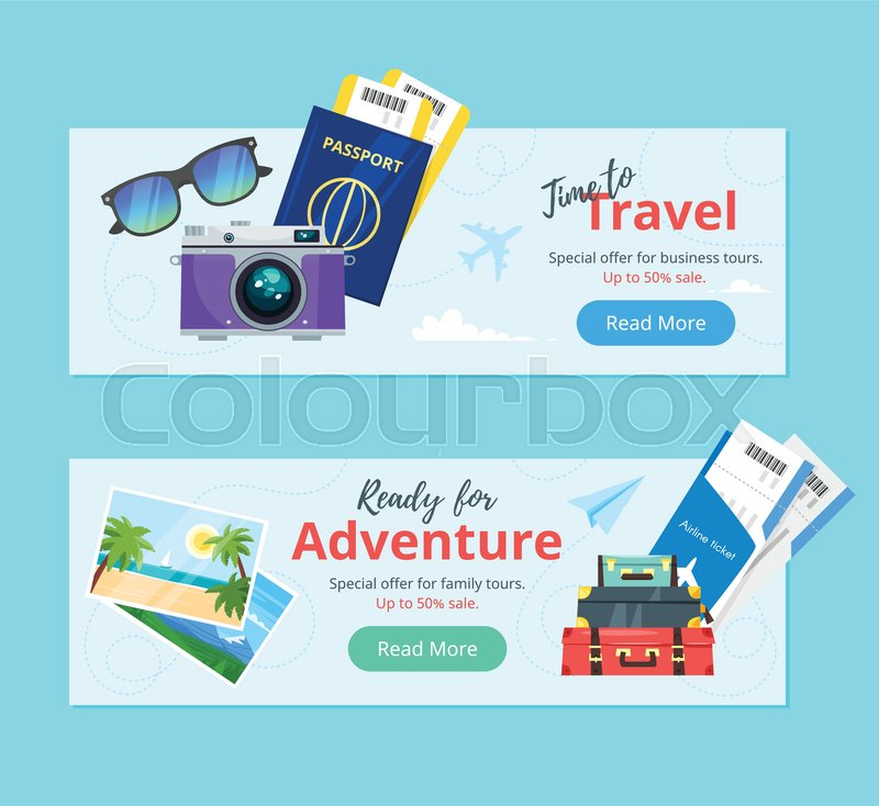 vector cartoon style illustration of journey theme banners travel and tourism advertisement poster template ready for adventure text