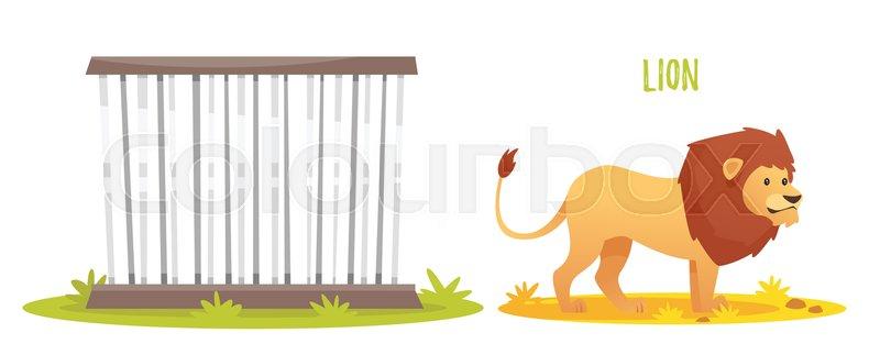 Vector Cartoon Style Illustration Of Wild Lion. Zoo Cage