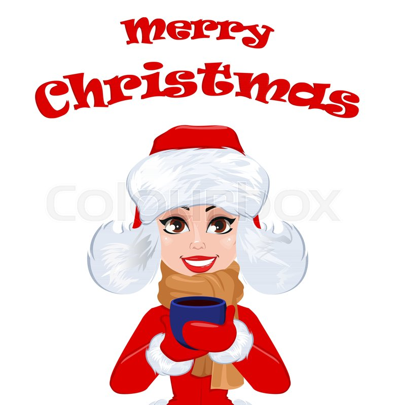 Merry christmas greeting card with beautiful woman in winter clothes merry christmas greeting card with beautiful woman in winter clothes holding a cup of hot drink happy smiling cartoon character m4hsunfo