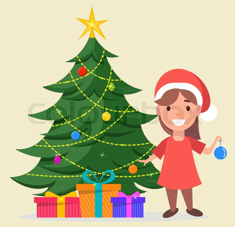 merry christmas and a happy new year greeting card girl in santa claus hat standing near decorated christmas tree with gift boxes under it