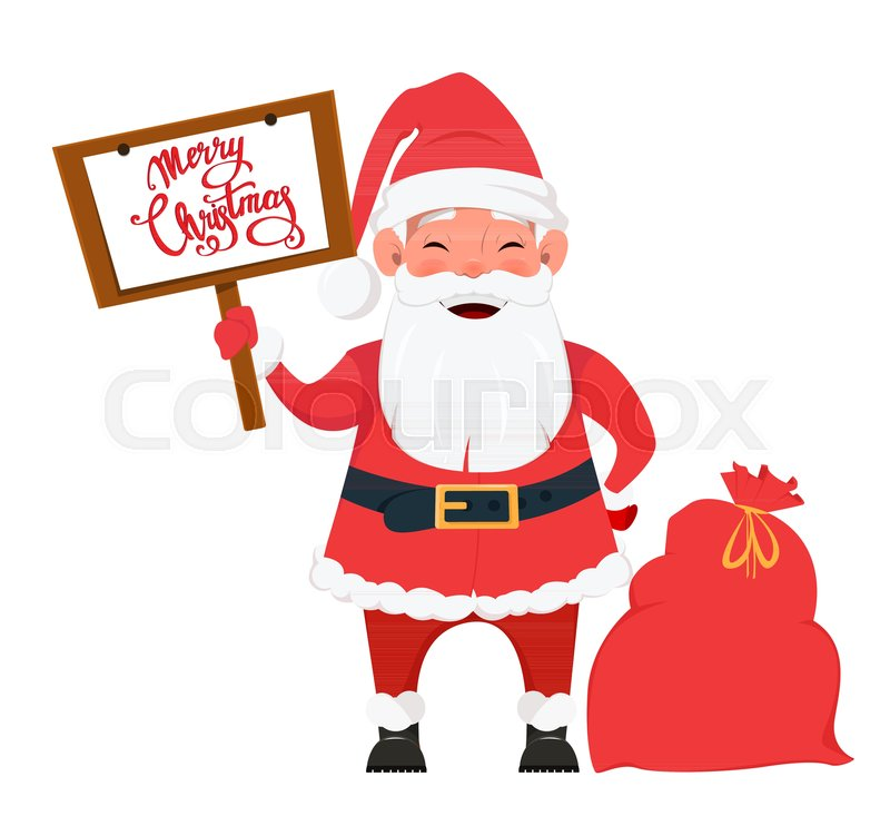 Merry Christmas and a Happy New Year greeting card with Santa Claus ...