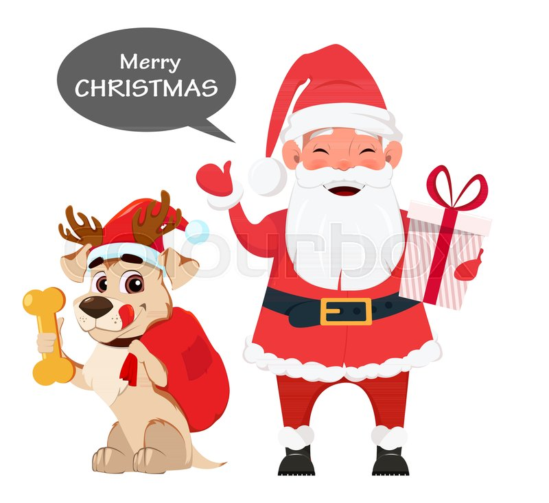 Merry Christmas and a Happy New Year greeting card with smiling ...