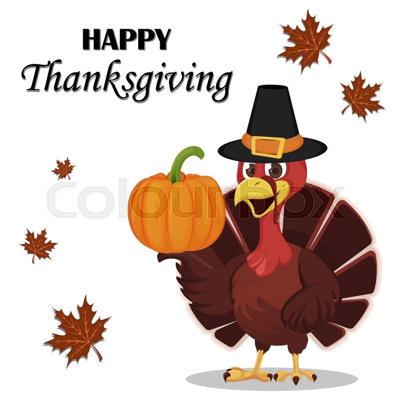 Thanksgiving greeting card with a turkey bird wearing a pilgrim hat stock vector of thanksgiving greeting card with a turkey bird wearing a pilgrim hat and m4hsunfo