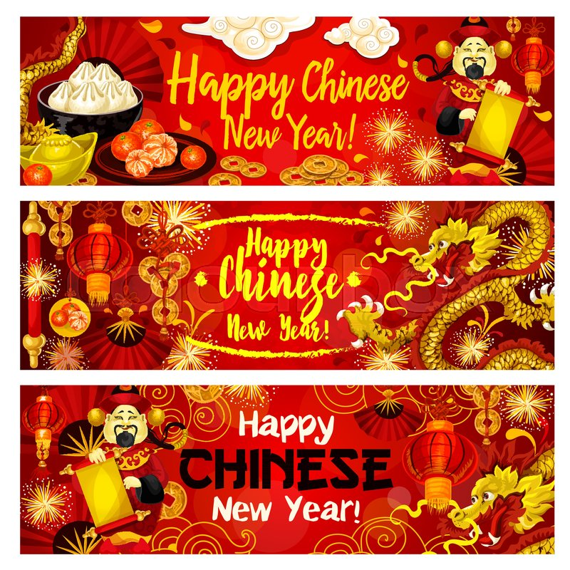 Happy chinese new year greeting banners design of traditional happy chinese new year greeting banners design of traditional chinese dragons and fireworks in clouds golden coins on lucky knot ornament m4hsunfo