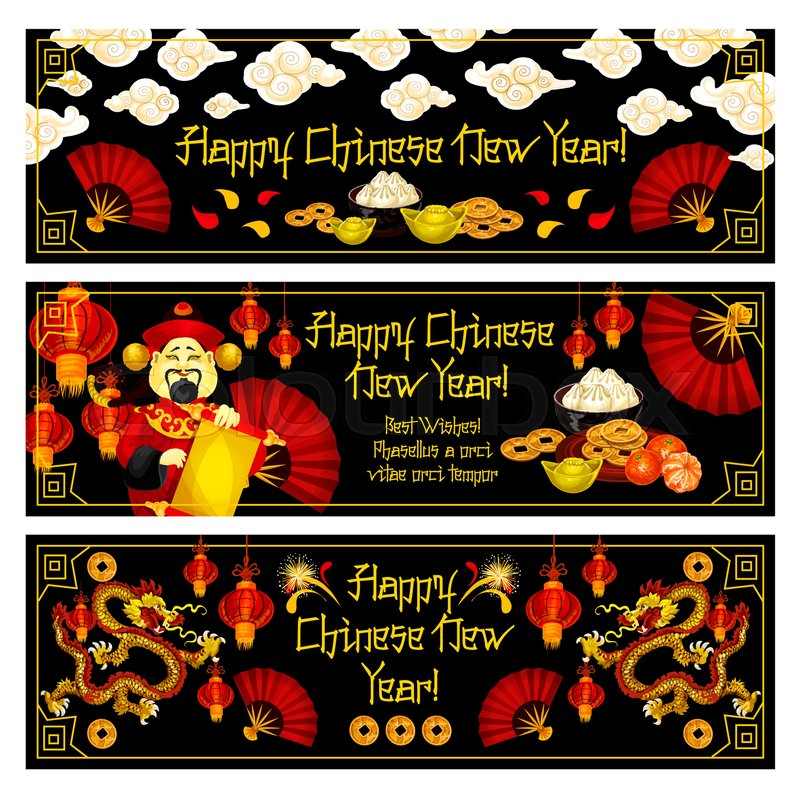 Happy chinese new year greeting banners for traditional lunar happy chinese new year greeting banners for traditional lunar holiday celebration vector chinese symbols and decorations of golden coins m4hsunfo