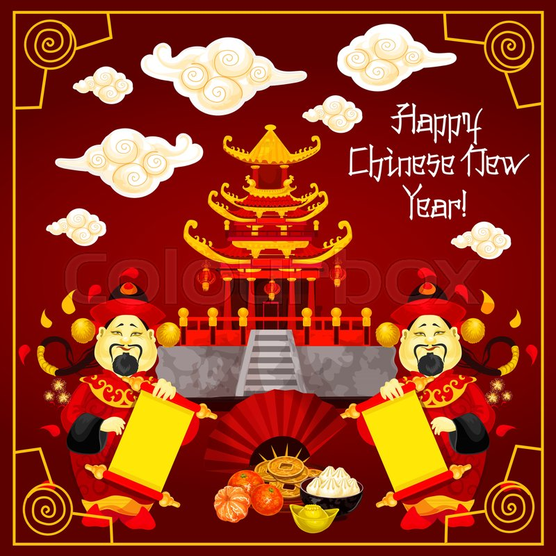 happy chinese new year greeting card design of traditional chinese temple arch and mandarin man with paper scroll on red background - Happy Chinese New Year In Mandarin