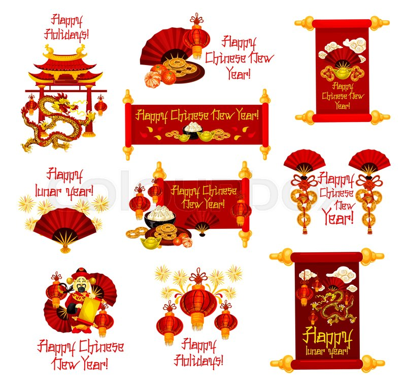 Happy Chinese New Year Greetings Icons Of Traditional Chinese Lunar