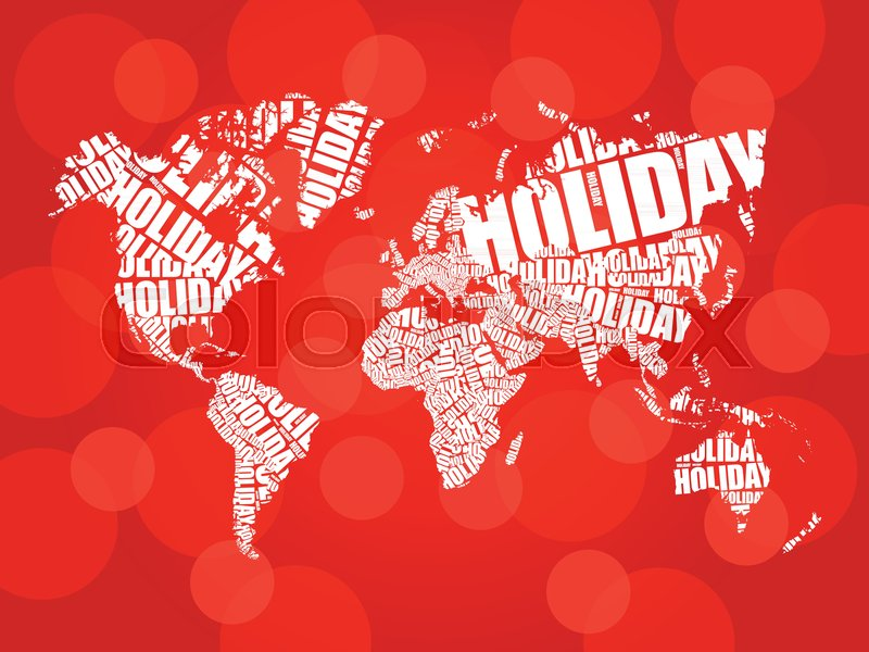 Holiday word in shape of world map typography words cloud travel holiday word in shape of world map typography words cloud travel concept background stock vector colourbox gumiabroncs Image collections