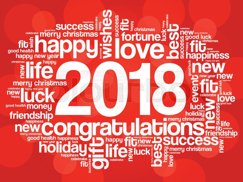 2018 year greeting word cloud collage happy new year celebration greeting card stock vector colourbox