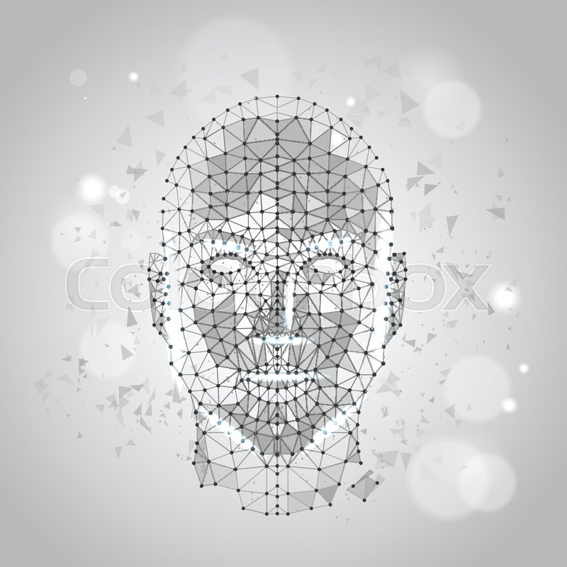 Low Polygon Human Face Wireframe Mash On Blue Background Vector ...