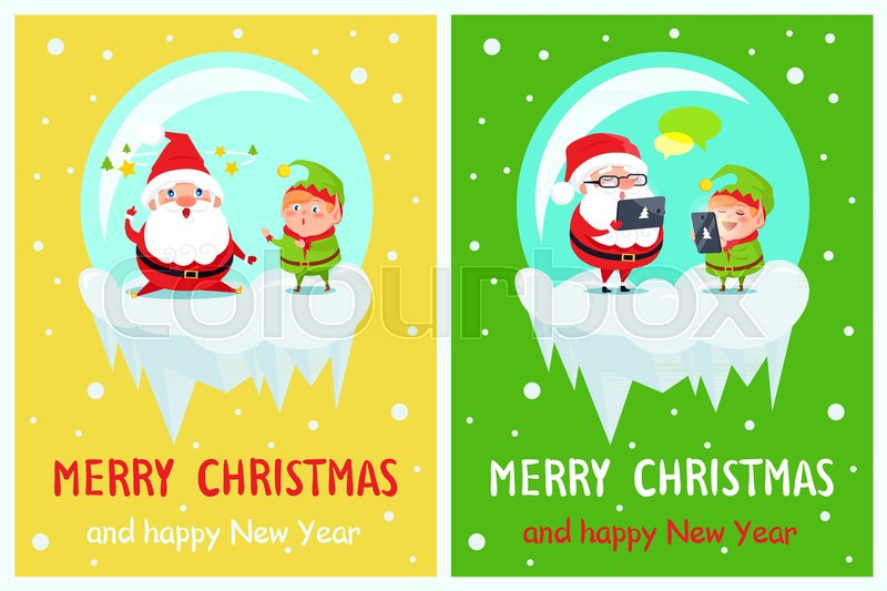 Merry christmas and happy new year postcard santa and elf fatigue merry christmas and happy new year postcard santa and elf fatigue characters sending greetings via tablet and smartphone chatting in internet vector m4hsunfo