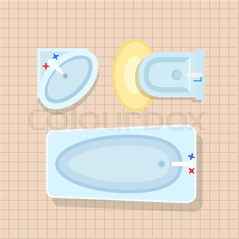 Top View Of Bathroom Interior Design With Washbasin Toilet Small Carpet Near To It And Tub Vector Illustration Restroom Beige Floor Tiles