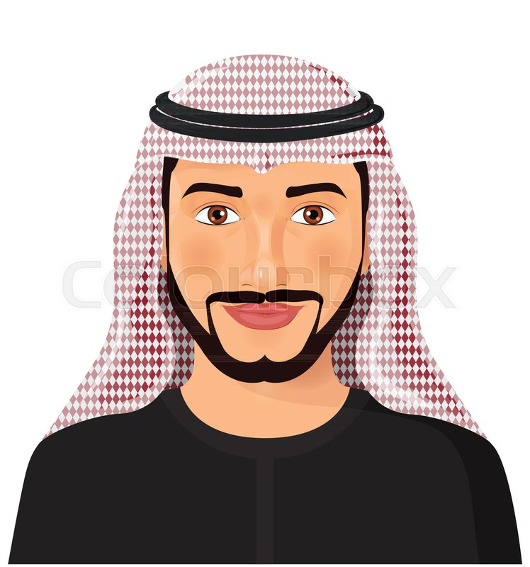 arab man avatar face front view in traditional muslim hat cartoon