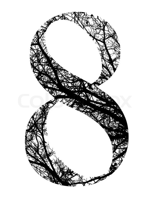 number eight made from black tree branches with clipping