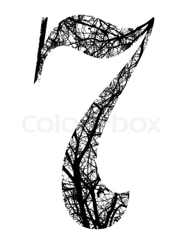 Number seven made from black tree branches with clipping for Number 7 tattoo gallery