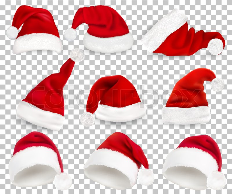 524135bd38da1 Collection of red santa hats on ...