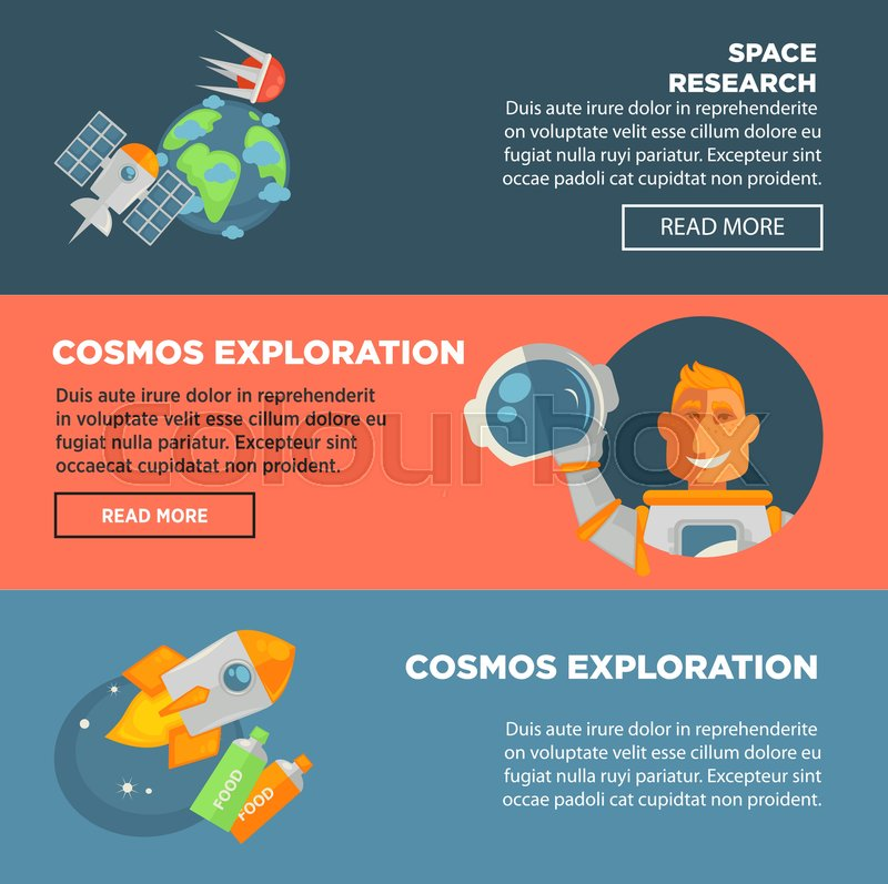 Space research and cosmos exploration promotional Internet posters with Earth and satellites, spaceman in pressure suit and spaceship with food in tubes cartoon vector illustrations in circles, vector