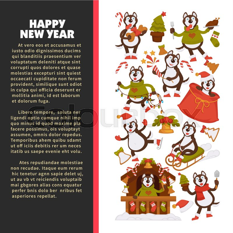 happy new year 2018 poster with husky dog in festive warm clothes in wooden house with christmas decorations and winter sledges isolated cartoon flat