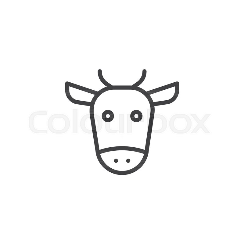Cow Head Line Icon Outline Vector Sign Linear Style Pictogram