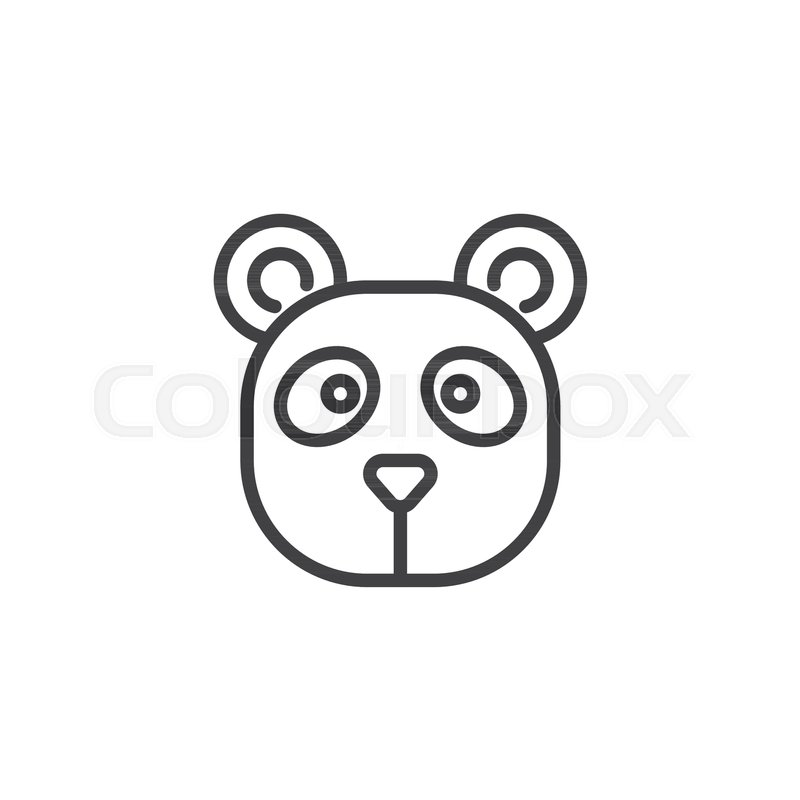 Panda Head Line Icon Outline Vector Sign Linear Style Pictogram