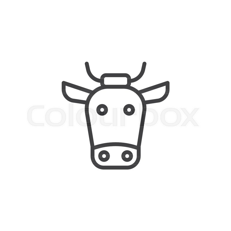 Buffalo Head Line Icon Outline Vector Sign Linear Style Pictogram