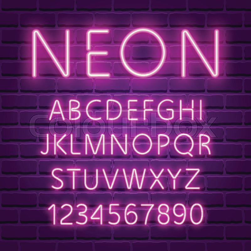 Glowing Ultra Violet Neon Character Font UV Luminous Light Effect High Detailed Alphabet For Advertising Retro 80s Techno Acid Style
