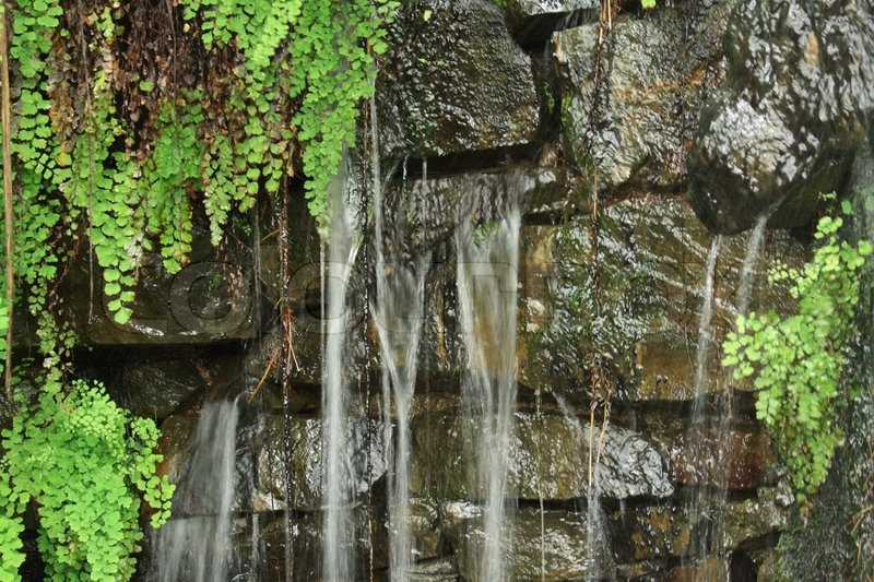 Very Nice Natural Waterfall Background From Garden