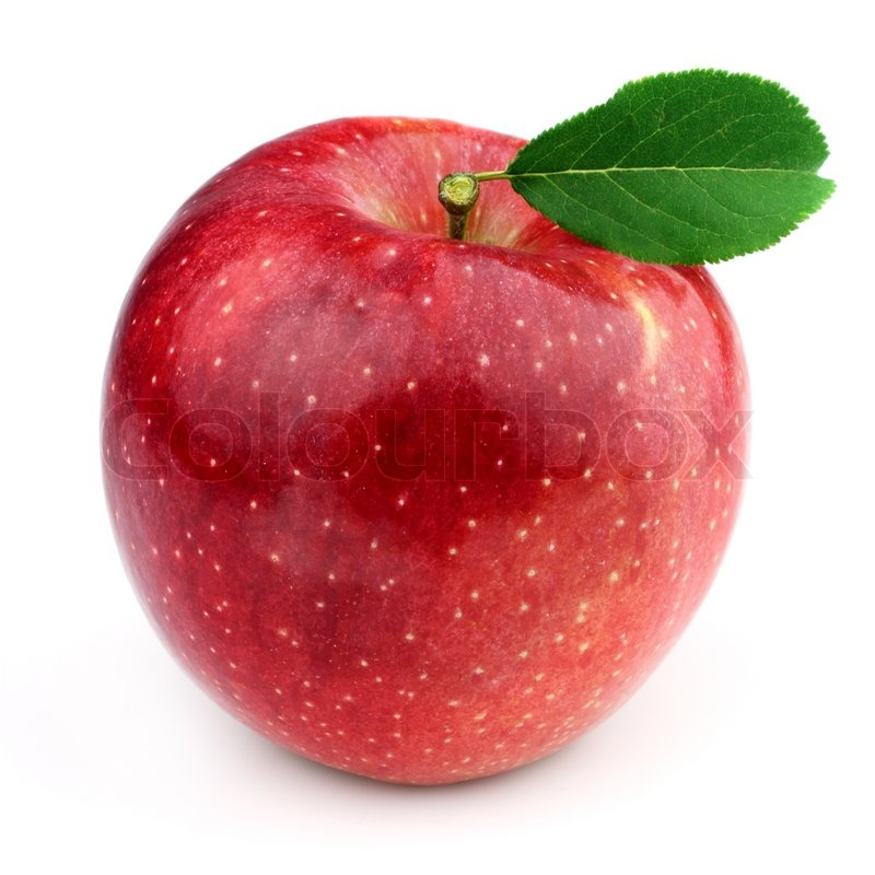 Sweet apple with leaves | Stock Photo | Colourbox
