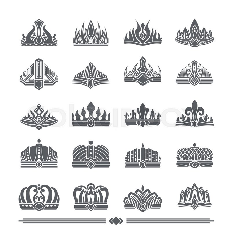 set of crown icons that are symbols of power and wealth of kings and