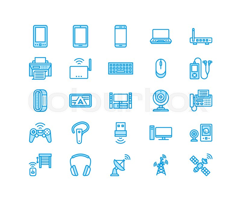 Wireless devices flat line icons wifi internet connection wifi internet connection technology signs router computer smartphone tablet laptop satellite vector linear illustration electronic store greentooth Choice Image