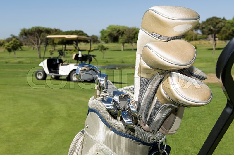 Golf clubs in a golf bag, stock photo